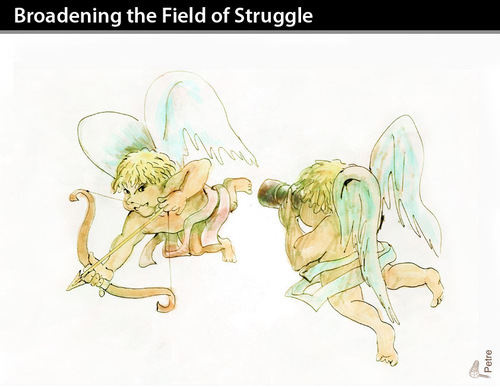 Cartoon: Broadening the Field of Struggle (medium) by PETRE tagged paparazzi,angels,heaven,love