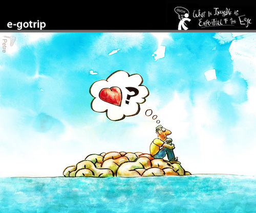 Cartoon: e-GOTRIP (medium) by PETRE tagged isolation,love,thoughts