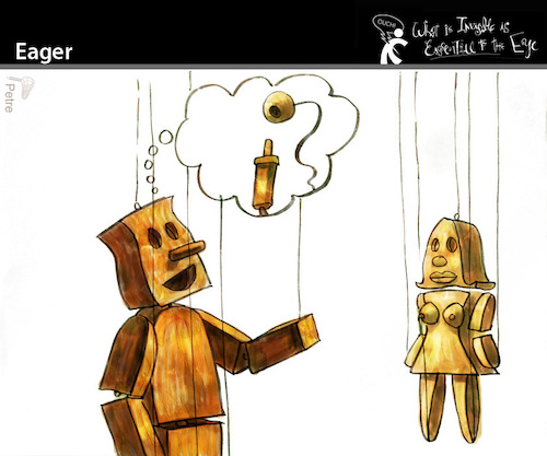 Cartoon: Eager (medium) by PETRE tagged wish,desire,puppets