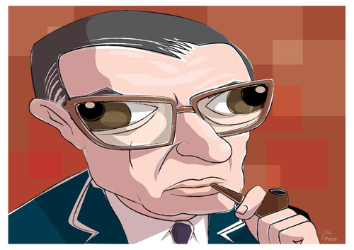 Cartoon: Jean Paul Sartre (medium) by PETRE tagged caricature,sartre,france,philosophers