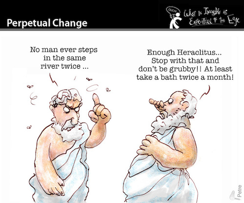 Cartoon: PERPETUAL CHANGE (medium) by PETRE tagged heraclitus,change,river,philosophy