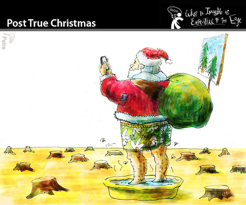 Cartoon: Post True Christmas (medium) by PETRE tagged christmas,noel,santa,claus