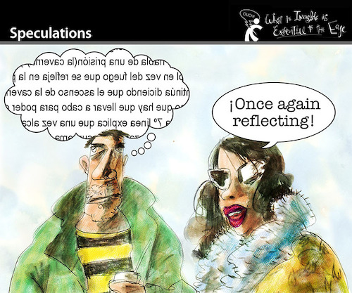 Cartoon: Speculations (medium) by PETRE tagged speculations,reflections,mirror