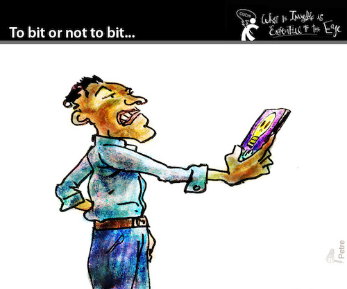 Cartoon: To bit or not to bit (medium) by PETRE tagged shakespeare,hamlet,skull,phone,to,bit