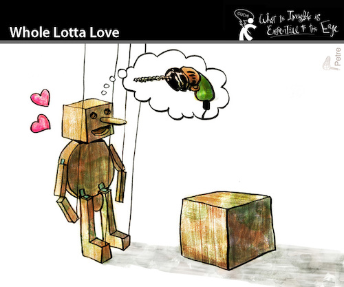 Cartoon: Whole Lotta Love (medium) by PETRE tagged love,wood,wish,lust
