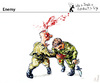 Cartoon: Enemy (small) by PETRE tagged war,fight