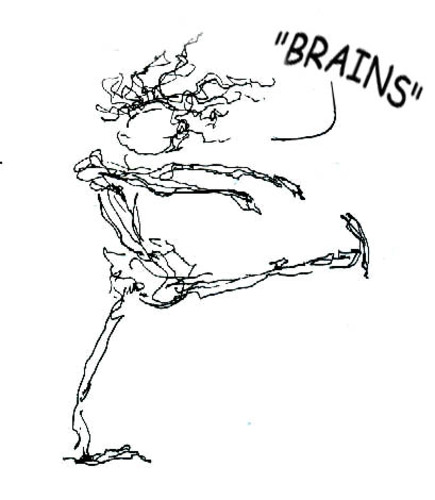 Cartoon: Brains! (medium) by ellemrcs tagged brains,zombie,zombies,scribble,bibble