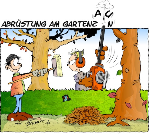 Cartoon: Abrüstung (medium) by Trumix tagged herbst,herbstmanöver,gartenzaun,laubblaeser,laub,blaetter,laubsauger,gartengeraet,herbst,herbstmanöver,gartenzaun,laubblaeser,laub,blaetter,laubsauger,gartengeraet