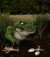 Cartoon: Sump Sup (small) by RyanNore tagged crocodile,swamp,toad,frog,skeleton