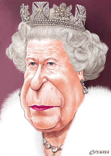 Cartoon: Queen Elizabeth II (medium) by penava tagged karikatur,koenigin,england,caricature,english,british,royal,queen,elizabeth,karikatur,karikaturen,queen elizabeth ii,england,königin,queen,elizabeth,ii