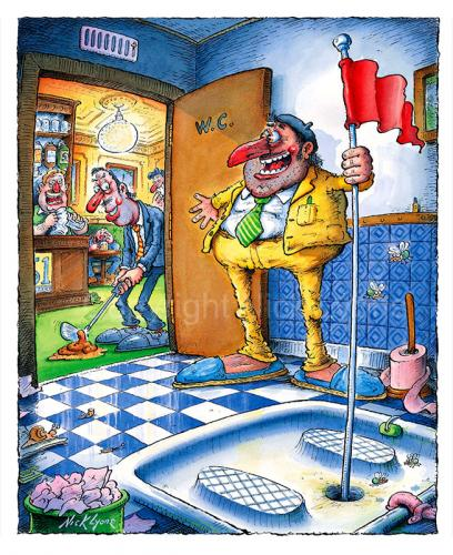 Cartoon: French loo 2 (medium) by Nick Lyons tagged joke,cafe,bar,france,toilette,toilet,wc,sport,loo,french,golf