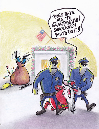 Cartoon: white house christmas (medium) by Petra Kaster tagged christmas,father,chistmas,trump,punishment,guantanmo,revenge,christmas,father,chistmas,trump,punishment,guantanmo,revenge