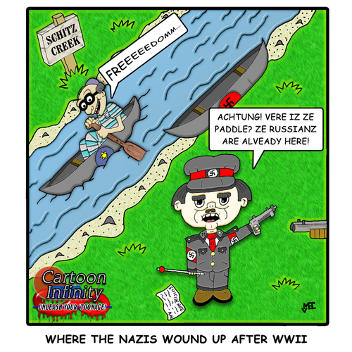 Cartoon: Schitz Creek (medium) by yusanmoon tagged yu,san,moon,cartoon,infinity,hitler,nazis,jewish,schitz,creek,paddle,wwii