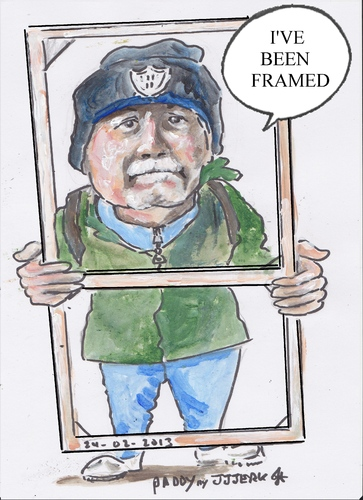 Cartoon: Ive been framed (medium) by jjjerk tagged paddy,coolock,library,art,group,peter,frame,wood,blue,cartoon,caricature