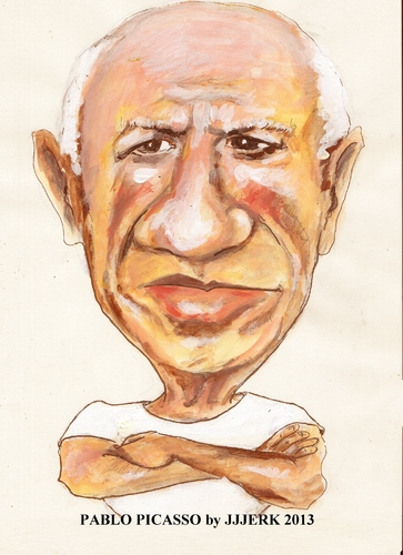 Cartoon: Pablo Picasso (medium) by jjjerk tagged pablo,picasso,spain,artist,cartoon,caricature,vest,painter