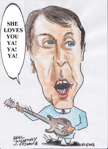 Cartoon: She loves you Yeah Yeah Yeah (medium) by jjjerk tagged beetles,band,music,pop,english,cartoon,paul,mcmcartney,guitar,blue,yeah