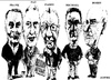 Cartoon: Bell Art Group (small) by jjjerk tagged bell art group darndale cartoon caricature glasses irish ireland artists painters