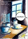 Cartoon: Fangs (small) by jjjerk tagged bram,stoker,cartoon,hotel,clontarf,225,caricature,joke,fang,fangs,blue,table,window