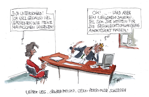 Cartoon: 20 Prozent unterschied (medium) by plassmann tagged genter,pay,gap