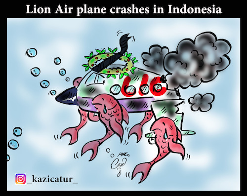 Cartoon: lion air plane (medium) by Hossein Kazem tagged lion,air,plane