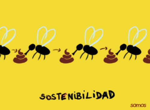 Cartoon: sustainability (medium) by parentheses tagged flies,shit,nature,sustainable