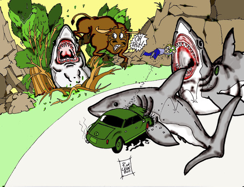 Cartoon: How GREAT WHITE SHARKS hunt. (medium) by DaD O Matic tagged hunting,greatwhite,shark,wild,nature