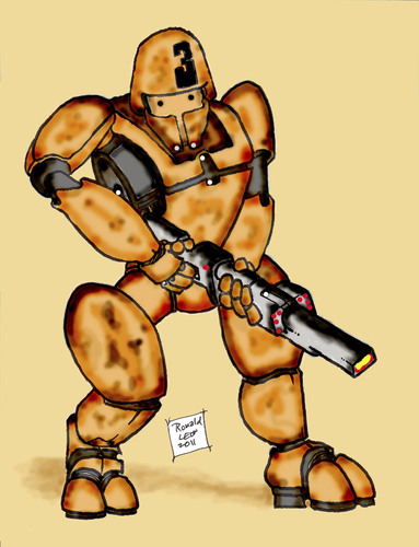 Cartoon: Mechanized Drone Trooper (medium) by DaD O Matic tagged war,money,corporation,video,game