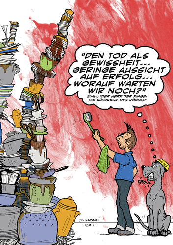 Cartoon: Die Rückkehr des Spülers (medium) by dogtari tagged der,herr,dogge,deutsche,dane,great,ringe,lord,of,the,rings,dogtari,bruno