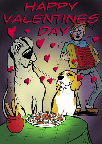 Cartoon: Valentines Day with Bruno (medium) by dogtari tagged beagle,dane,great,day,valentines