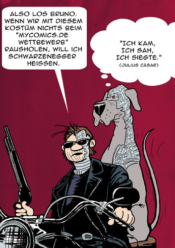 Cartoon: Wahlwerbung (medium) by dogtari tagged halloween,dane,great,dogtari,bruno,terminator
