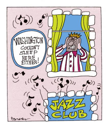 Cartoon: Sleepy time Joe (medium) by daveparker tagged george,washington,noisy,jazz,no,sleep,