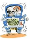 Cartoon: Back seat driver. (small) by daveparker tagged driving,school,nagging,back,seat,driver,
