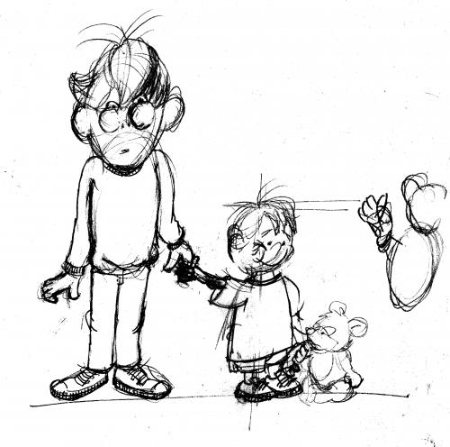 Cartoon: sketch father little boy (medium) by neudecker tagged sketch,drawing