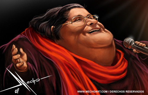 Cartoon: Mercedes Sosa (medium) by Mecho tagged caricature,caricatures,singer