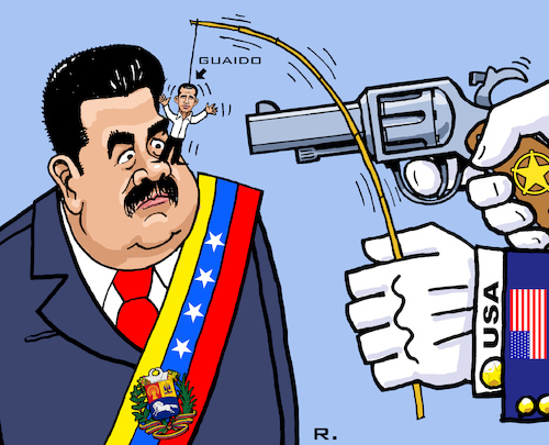 Cartoon: Tanz auf der Nase (medium) by RachelGold tagged venezuela,usa,regime,change,trump,guaido,maduro,puppet,threat,war,oil