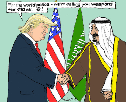 Cartoon: for the world peace (medium) by MarkusSzy tagged usa,saudi,arabia,trump,king,salman,peace,weapons
