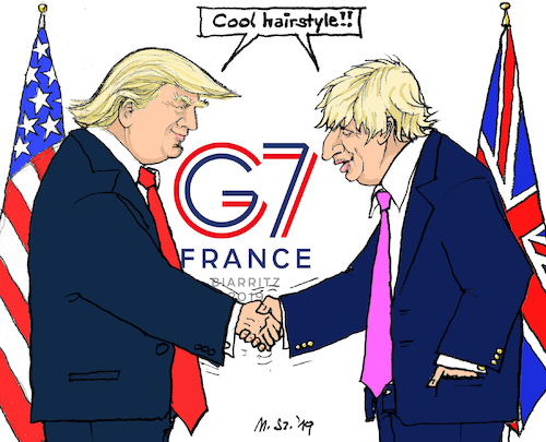 Cartoon: Trump meets Johnson at G7 (medium) by MarkusSzy tagged g7,france,usa,uk,trump,johnson,hairstyle