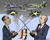 Cartoon: Anti-Terror-Fight in Syria? (small) by MarkusSzy tagged syria,usa,russia,obama,putin,assad,aircraft,bombing,anti,terror