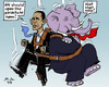 Cartoon: In Free Fall (small) by MarkusSzy tagged usa,budget,shutdown,democrates,republicans,obama