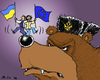 Cartoon: On His Nose (small) by MarkusSzy tagged ukraine,russia,europe,bear