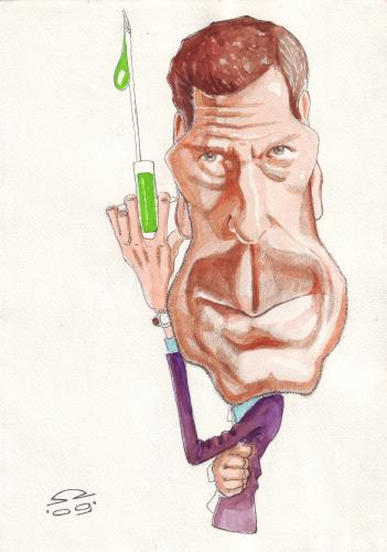 Cartoon: Hugh Laurie (medium) by zed tagged hugh,laurie,doctor,house,nature,hospital,flu,portrait,caricature,famous,people