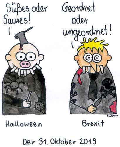 Cartoon: Der 31. Oktober (medium) by Matthias Schlechta tagged halloween,brexit,eu,europa,gb,großbritannien,johnson,austritt,verhandlungen,irland,referendum,backstop,oktober,halloween,brexit,eu,europa,gb,großbritannien,johnson,austritt,verhandlungen,irland,referendum,backstop,oktober