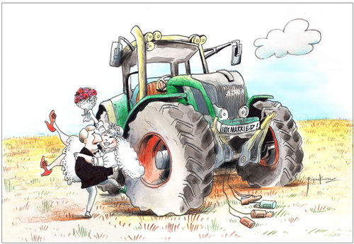 Cartoon: Just.married (medium) by firuzkutal tagged marriage,gender,family,wedding,relationship,woman,man,car,tractor,farmer