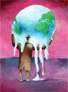 Cartoon: Global-warming (small) by firuzkutal tagged globa,lwarming,warming,world,earth,leaders,greenhouse,politic,environment,climate,copenhagen,treaty,greenpeace,energy,nuclear,gas,reduction,firuzkutal