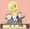 Cartoon: Nobel Peace Prize Candidates? (small) by firuzkutal tagged nobel,peace,prize,kim,jong,hu,donald,trump,usa,south,north,korea,moon,jae,in,negotiations,talk,committe,2018,nobelpreis