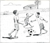 Cartoon: World Cup 2018 begins (small) by firuzkutal tagged football,world,cup,russia,germany,italia,brasil,fair,play,soccer,afrique,ball,game,holligan