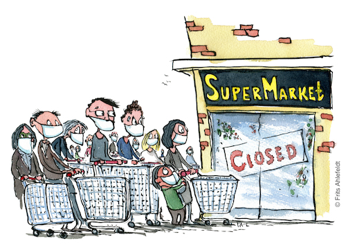 Cartoon: Cue in front of the supermarket (medium) by Frits Ahlefeldt tagged covid19,cue,facemask,covid,corona,pandemic,hoarding,fear,shopping