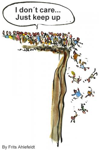 Cartoon: Why do we behave like Lemmings? (medium) by Frits Ahlefeldt tagged lemming,effect,animal,rodent,people,life,group,gue,line,edge,illustration,ink,cartoon