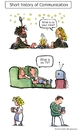 Cartoon: From Fireside to Phone (small) by Frits Ahlefeldt tagged facebook,twitter,communication,marriage,love,couple,man,woman,phone,fire
