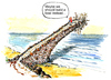Cartoon: Second thoughts on the bridge (small) by Frits Ahlefeldt tagged bridge,conflict,planning,plan,idea,concept,managing,risk,boat,water,sea,team
